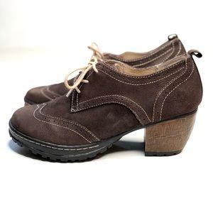 Jambu San Fran chunky brown leather oxfords heels